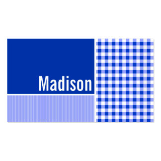 Blue Gingham; Checkered Business Card Template