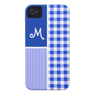Blue Gingham; Checkered Case-Mate iPhone 4 Case