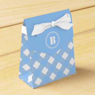 Blue Gingham Checkered Pattern Favor Box Party Favour Box