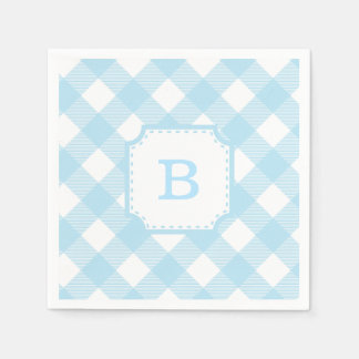 Blue Gingham Checkered Pattern Paper Napkin