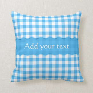 Blue Gingham Checkered  Pattern Personalized Cushion