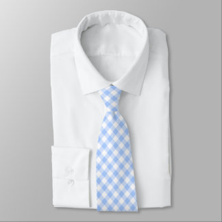 Blue Gingham Checkered Tie