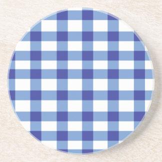 Blue Gingham Drink Coaster