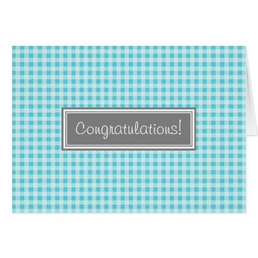 Blue Gingham Congratulations New Baby Boy Greeting Card