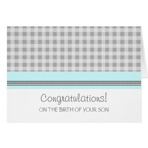 Blue Gingham Congratulations New Baby Boy Cards