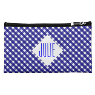 Blue Gingham Cosmetic Bag
