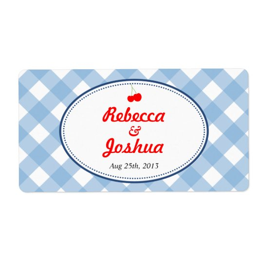 Blue gingham country rustic wedding favour tag