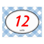 Blue gingham country rustic wedding table number postcards