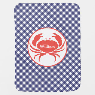Blue Gingham + Crab Personalized Baby Blanket