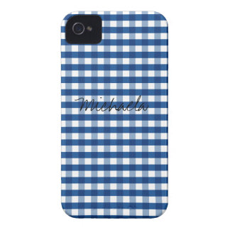 Blue Gingham Customizable iPhone 4 Cases