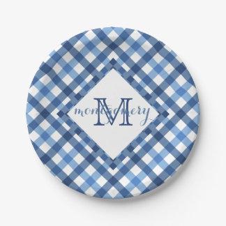 Blue gingham diamond monogram name paper plate
