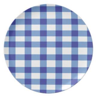 Blue Gingham Dinner Plate