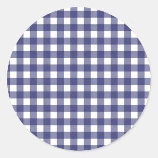 Blue Gingham Envelope Seal Round Sticker