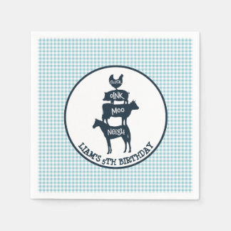 Blue Gingham Farm Theme Animal Birthday Paper Napkin
