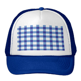 Blue Gingham Trucker Hats