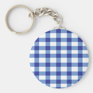 Blue Gingham Basic Round Button Key Ring
