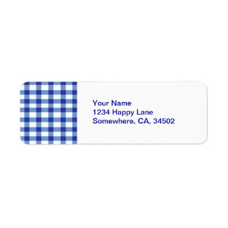 Blue Gingham Return Address Label