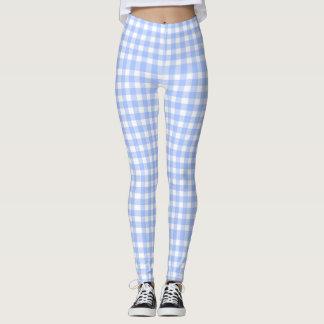 blue gingham - leggings