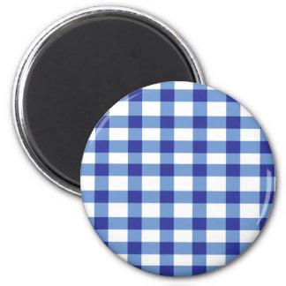 Blue Gingham 6 Cm Round Magnet