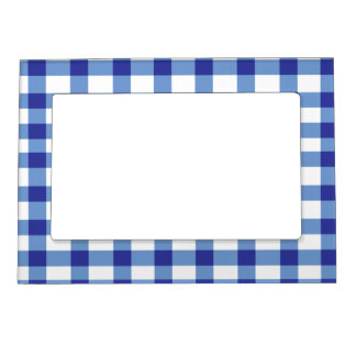 Blue Gingham Magnetic Picture Frame