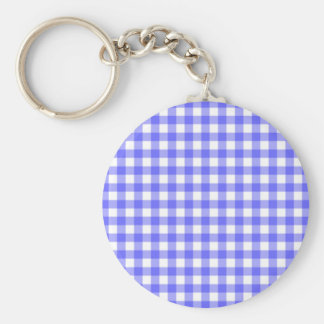 Blue Gingham Material Basic Round Button Key Ring