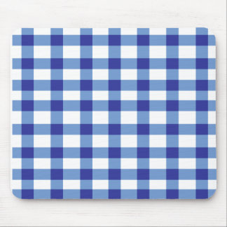 Blue Gingham Mouse Pad