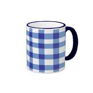Blue Gingham Ringer Mug