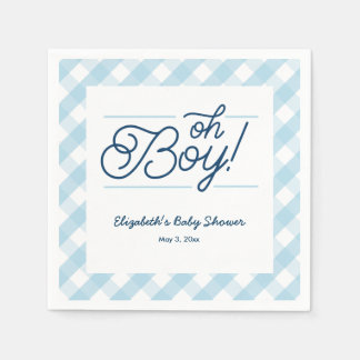 "Blue Gingham ""Oh Boy"" Baby Shower Napkins Disposable Serviette"