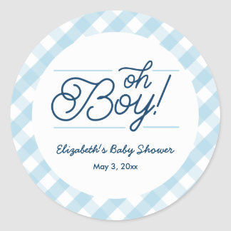 "Blue Gingham ""Oh Boy"" Baby Shower Stickers"