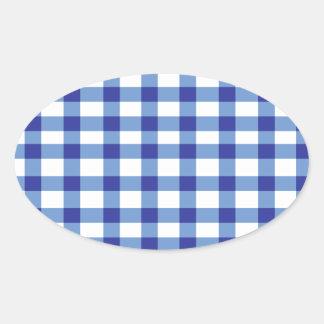 Blue Gingham Oval Sticker