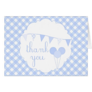 Blue Gingham Party Banner Balloons Thank You Card