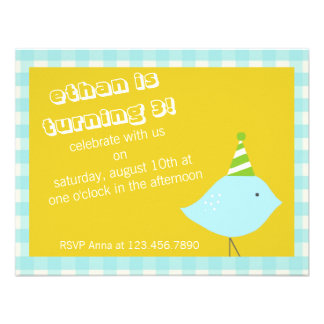 Blue Gingham Party Invitation