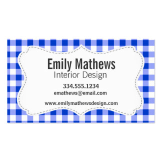 Blue Gingham Pattern Business Card Templates