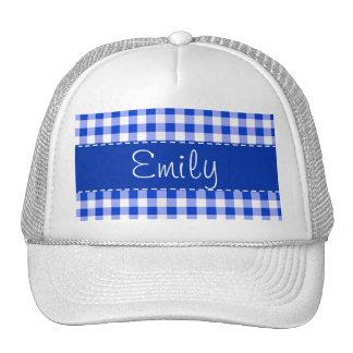 Blue Gingham Pattern Mesh Hats