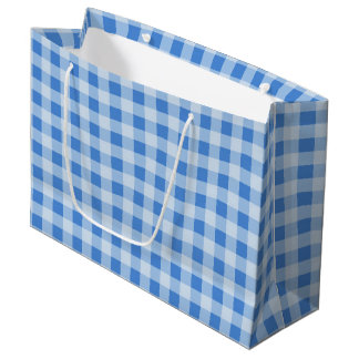 Blue Gingham Pattern Large Gift Bag