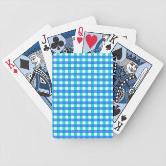 Blue Gingham Pattern Poker Deck