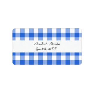 Blue gingham pattern wedding favors address label