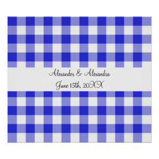 Blue gingham pattern wedding favors posters