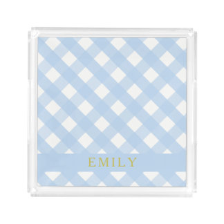 Blue Gingham Perfume Tray Small Personalized