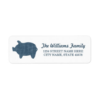 Blue Gingham Piggie Address Labels