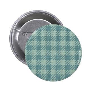 Blue Gingham Print Pinback Buttons