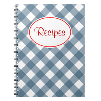 Blue Gingham Recipe Notebook