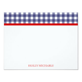 Blue Gingham & Red Flat Notecards