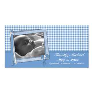 Blue Gingham Scrap Style Personalised Photo Card