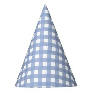 Blue Gingham Serenity Blue Design Party Hat