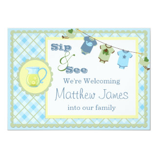 Blue Gingham Sip and See Bunting Baby Invitation