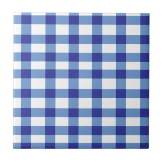 Blue Gingham Small Square Tile