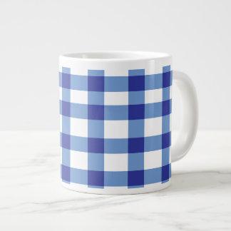 Blue Gingham Jumbo Mugs