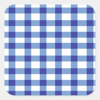 Blue Gingham Square Sticker