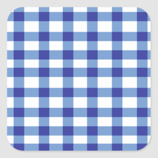 Blue Gingham Square Sticker